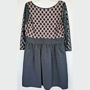 Eliza J mesh bodice dress black pink 12 petite